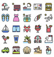 summer vacation related icon set 1 filled style vector image vector image