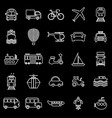 transportation line icons on black background vector image vector image