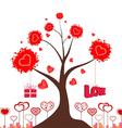 Valentines love tree vector image vector image