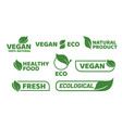 vegan tag label veganism badge logo vegetarian vector image