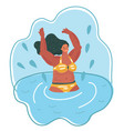 woman in a striped bathing suit swimming vector image vector image