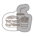 figure hamburger soda and fries french icon vector image