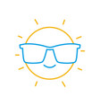 color line happy and cute sun kawaii with vector image