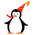 a penguin enjoying a birthday party with its hat vector image