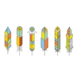 Abstract feather color icons vector image vector image
