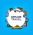 air travel and tourism airlines flight poster vector image vector image