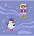 arctic fantasy winter girl penguin vector image