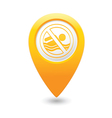 beach closed symbol yellow map pointer vector image vector image