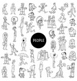 black and white cartoon people set vector image vector image