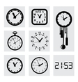black clocks icons vector image