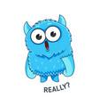 blue emotional monster sticker vector image vector image