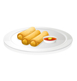 Bread roll and sauce vector image vector image