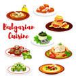bulgarian meat dishes and cake vector image vector image