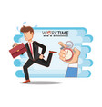 businessman avatar with work time elements vector image