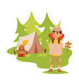 camper tourist tent outdoor hiking with backpack vector image