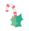 candy cane and leaves celebration merry christmas vector image vector image