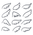 cartoon angel wings winged doodle sketch icons vector image vector image