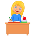 Cartoon girl studying vector image vector image
