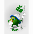 cartoon little pea with spears eps 10 vector image vector image