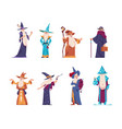 cartoon wizard magician old characters with beard vector image vector image
