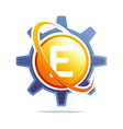 circle globe gear letter e orange abstract vector image