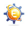 circle globe gear letter e orange abstract vector image vector image