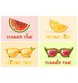 citrus orange and watermelon glasses set vector image vector image