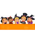 cute kids in halloween template for design vector image