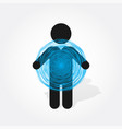 figure man holds blue circle composed of thin vector image