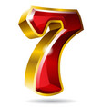 gold number 7 isolated on white background vector image vector image
