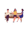 group cute young women sitting on bench at park vector image vector image