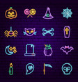 halloween neon icons vector image vector image