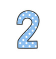 hand drawn number 2 with polka dots on pastel blue vector image vector image