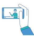hand holding smartphone with video blogger on vector image vector image