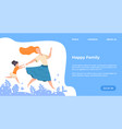 happy family landing page web site with young vector image vector image