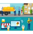 Home delivery service flat banners set vector image vector image