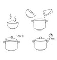 how to cook rice with few ingredients easy recipe vector image vector image