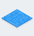 isometric bitcoin sign with computer chip color vector image