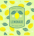 lemon logo lemonade emblem flat seamless pattern vector image