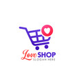 love shop logo design template shopping cart icon vector image vector image
