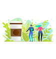 man and woman stand near huge cup with hot drink vector image