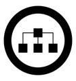 network icon black color in circle vector image vector image