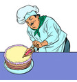 pastry chef man with cake vector image