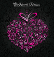 Pink heart pattern on black backround vector image vector image