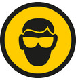 protection glasses - yellow warning sign vector image vector image