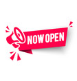 red banner now open with megaphone web element vector image vector image