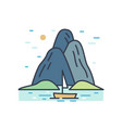 romantic colorful scenery with boat trip vector image vector image