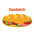sandwich breakfast fast food cartoon flat style vector image vector image