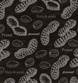 Seamless pattern with peanuts on black background vector image