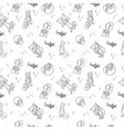 seamless pattern with sleeping foxes with pillows vector image vector image